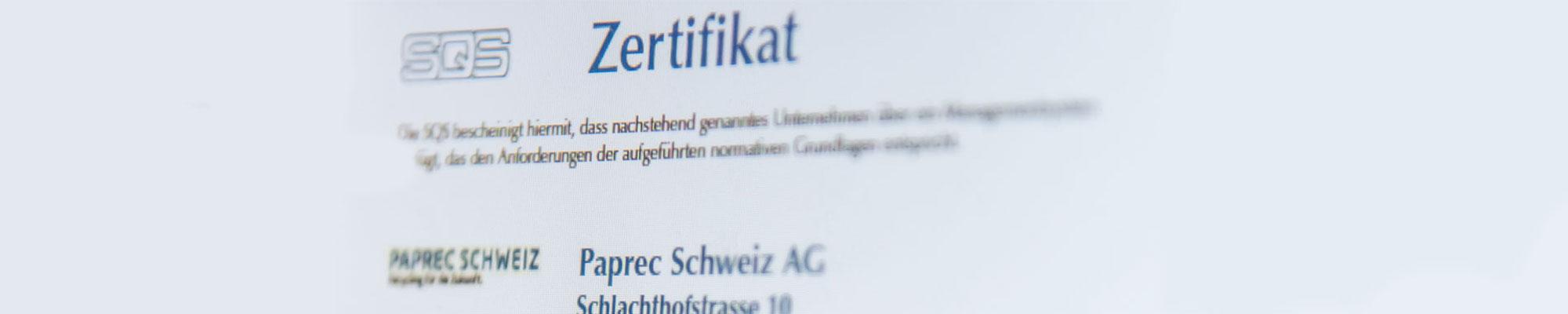 Ausschnitt aus dem SQS-Zertifikat von Reisswolf